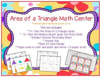 Area of a triangle math center find the missing length given area of a triangle math center find the missing length ccuart Images