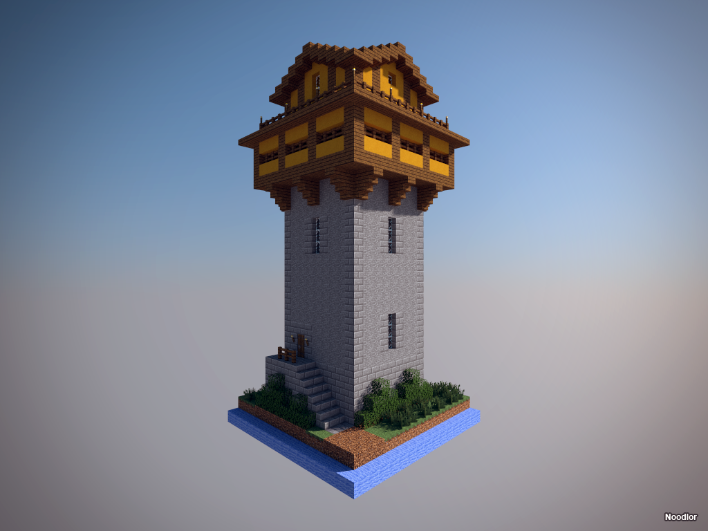 Medieval tower minecraft pinterest medieval tower for Minecraft base blueprints