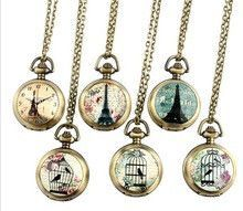 1 pc Painted Eiffel tower pocket watches cage birds Bronze Necklace old fashion Vintage woman watches Retro Style