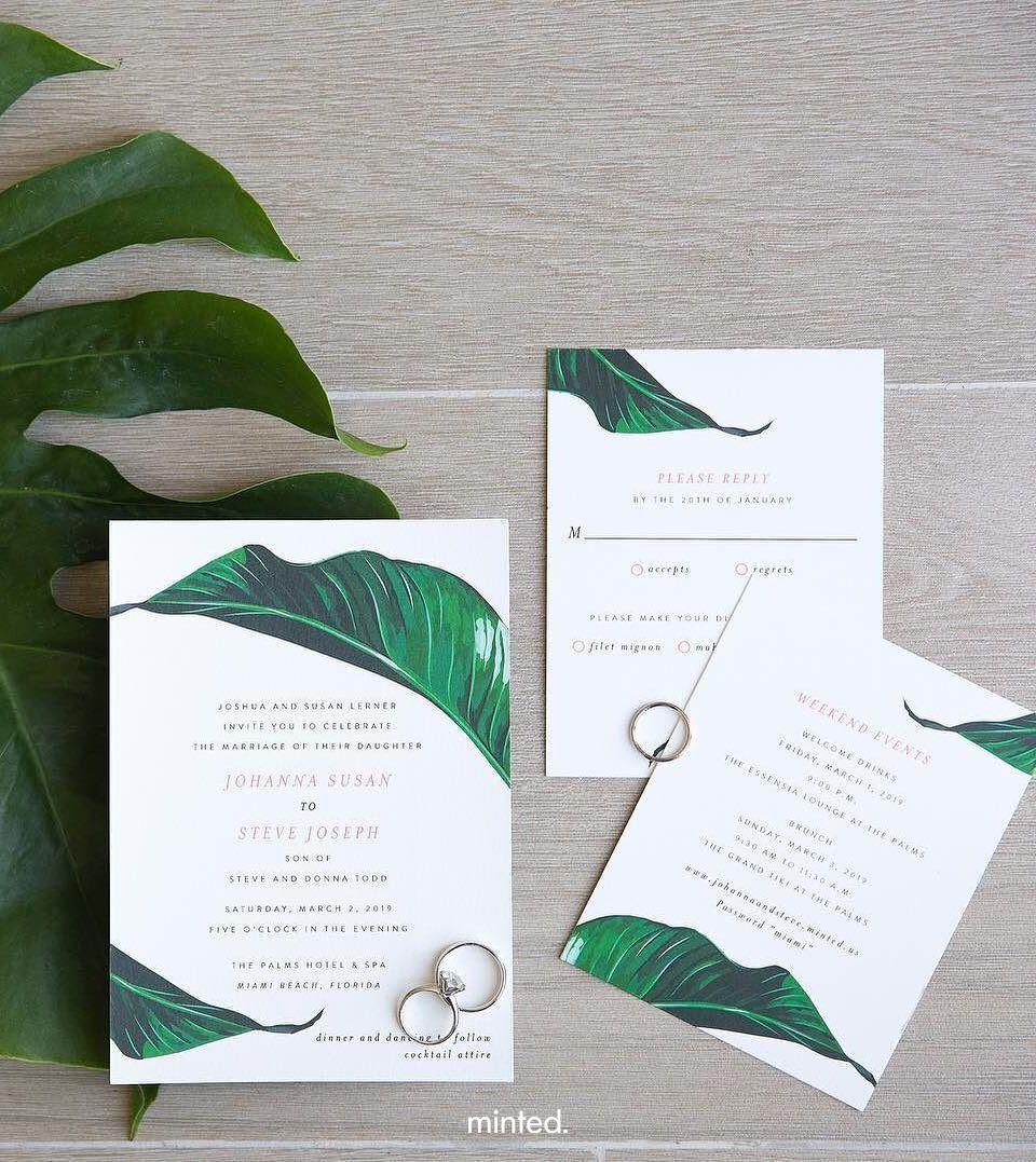 Mod Palm Wedding Invitation Palm Wedding Invitation Mint Wedding Minted Wedding Invitations