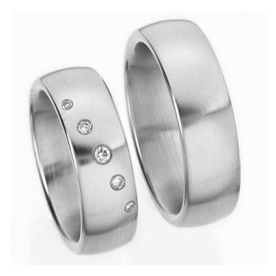 Platinum Five Diamonds His And Her Wedding Rings