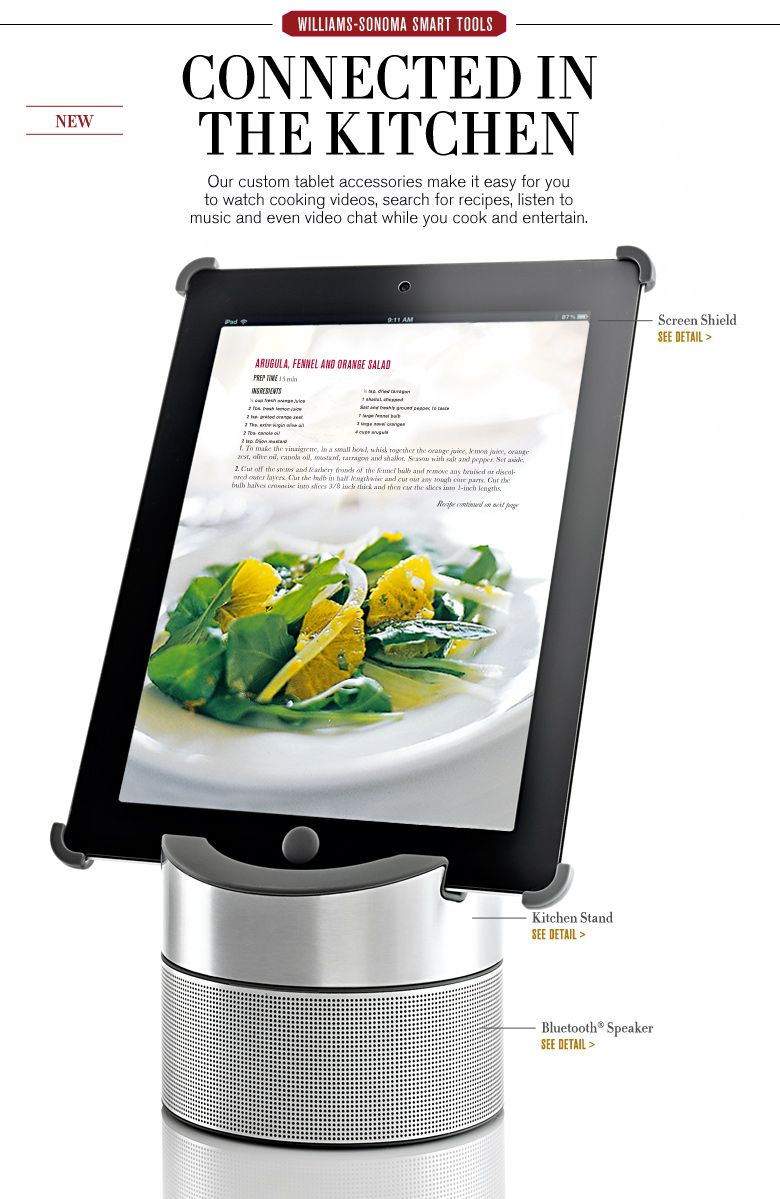 Tablet stand for kitchen  William Sonoma iPad Bluetooth Speaker  Currently Coveting