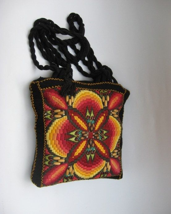 Cotton Fabric Embroidery with wooden beads by ColouredAccessories