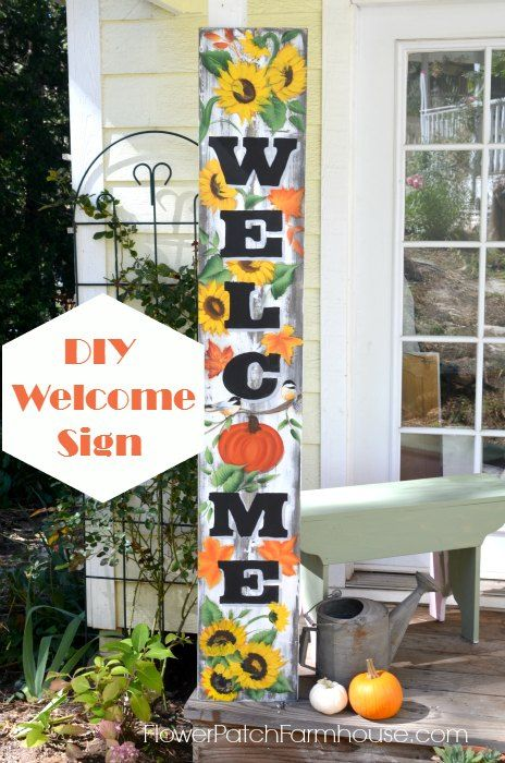 Paint A Fall Welcome Sign Welcome Sign Wooden Welcome Signs Welcome Wood Sign