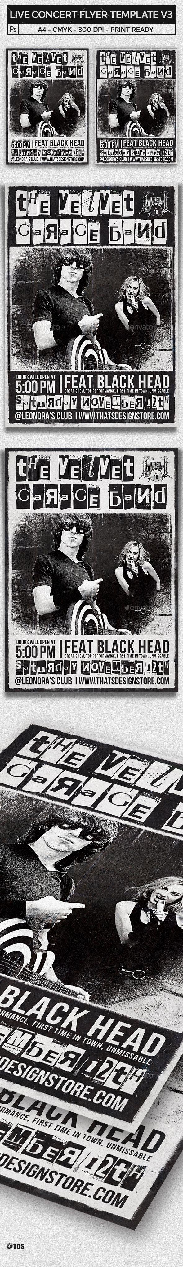 Live Concert Flyer Template V3 | Concert flyer, Flyer template and ...