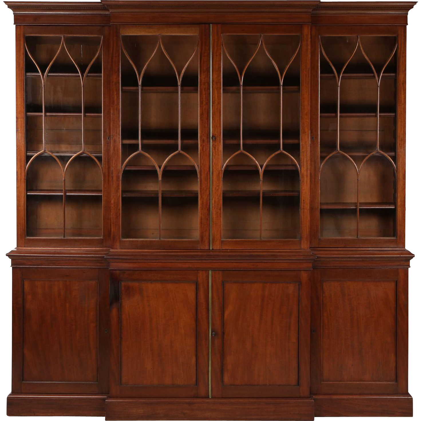 American Federal Mahogany Library Bookcase Antique Breakfront, 19th Century - American Federal Mahogany Library Bookcase Antique Breakfront, 19th