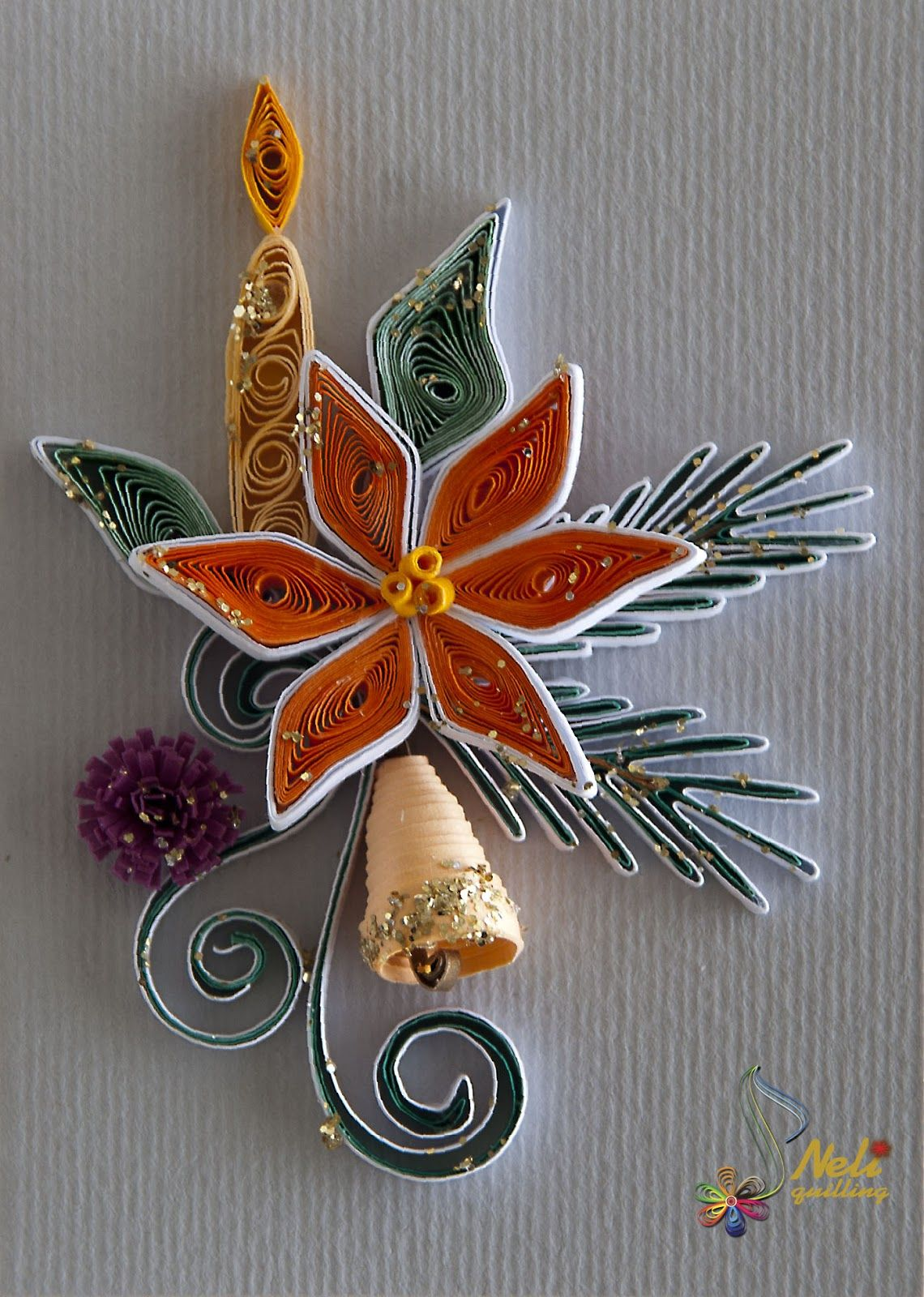 Quill Christmas flower and bell