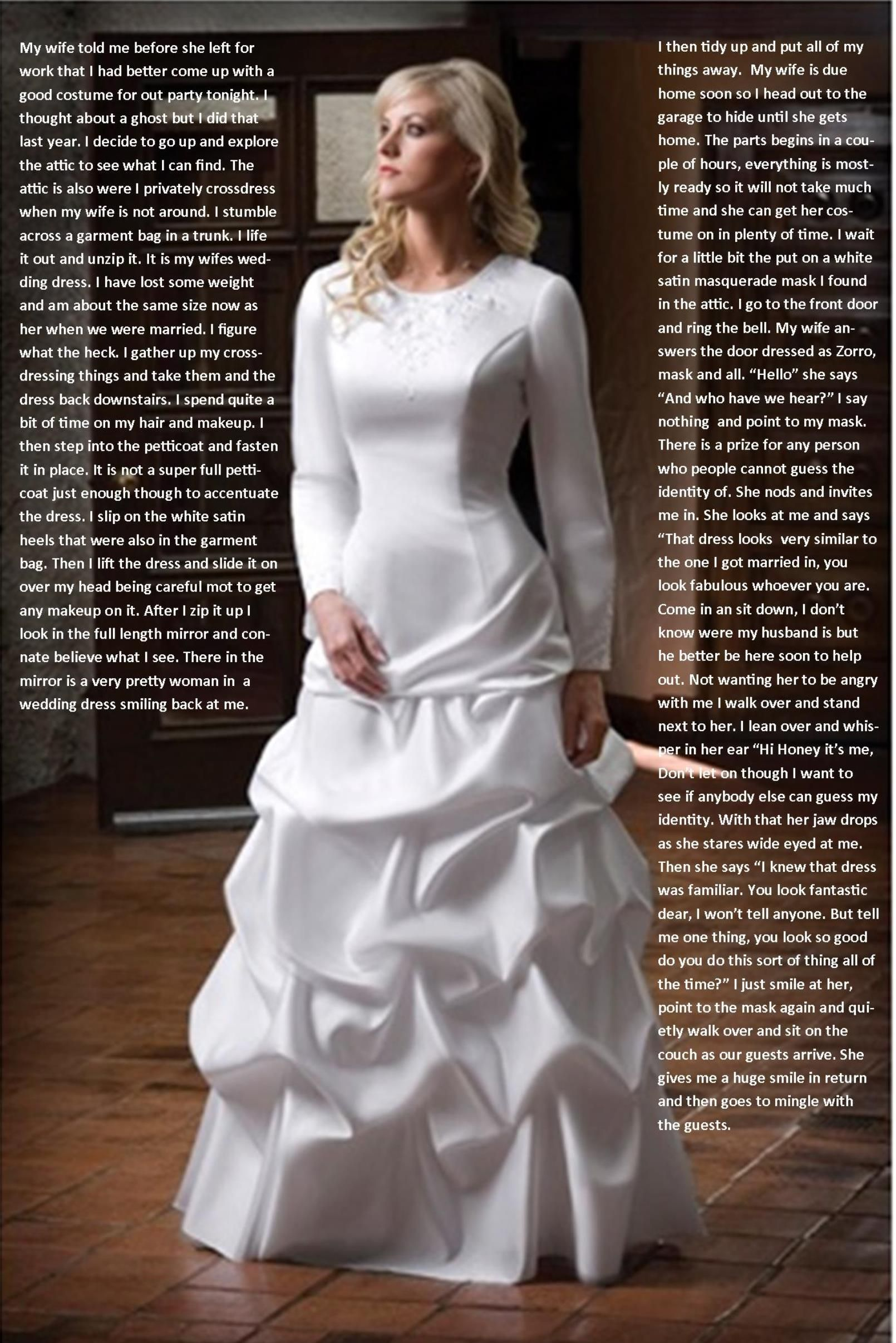fa65336bb3a56 Crossdressed And Caught In Wifes Clothes Wedding Captions, Modest Wedding  Gowns, Modest Dresses,