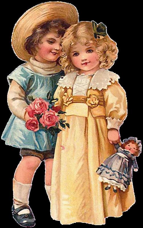 Открытка днем, куклы на старых открытках