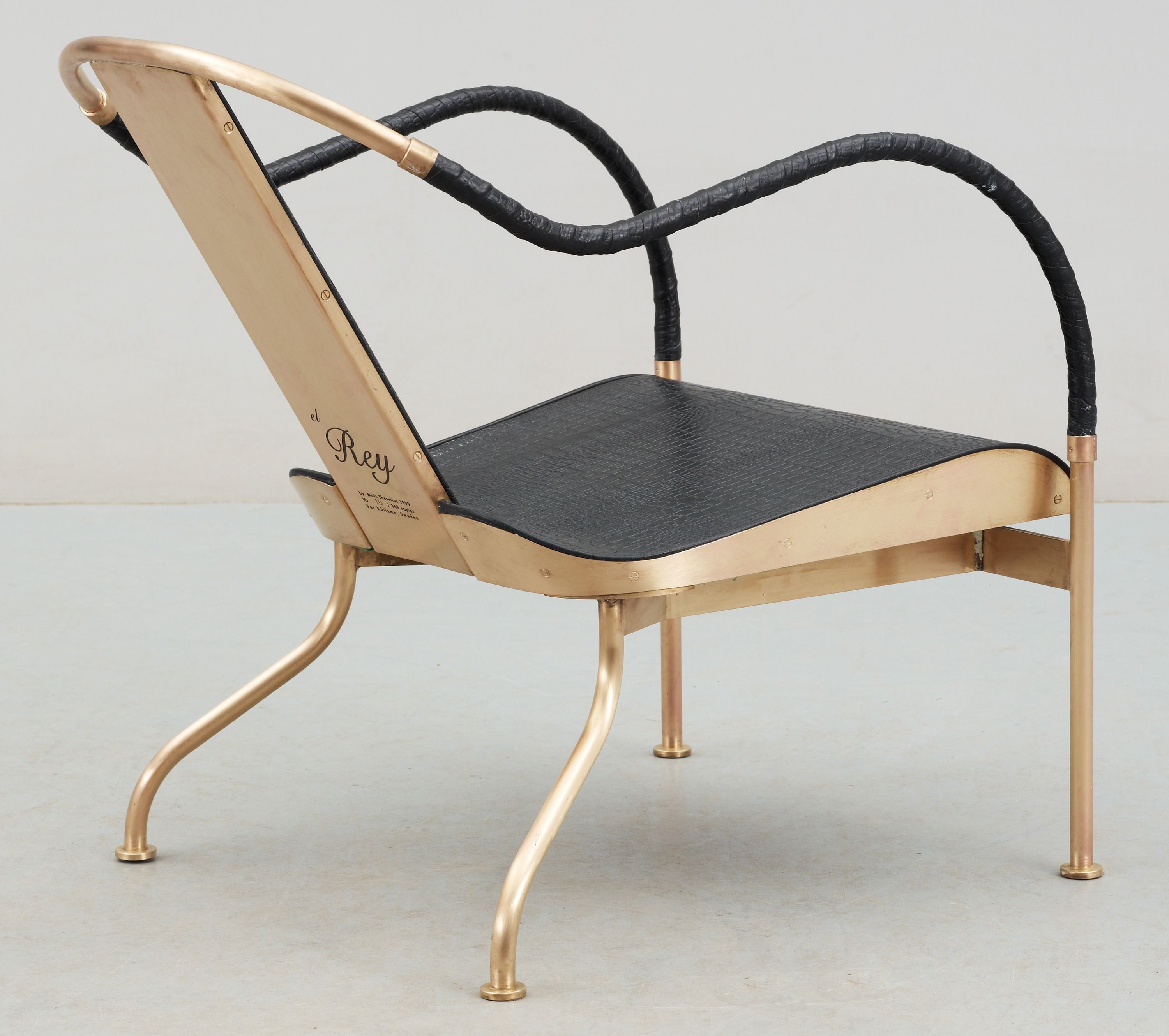 Mats Theselius U0027El Reyu0027 Easy Chair (1999), Brass And Leather U2013