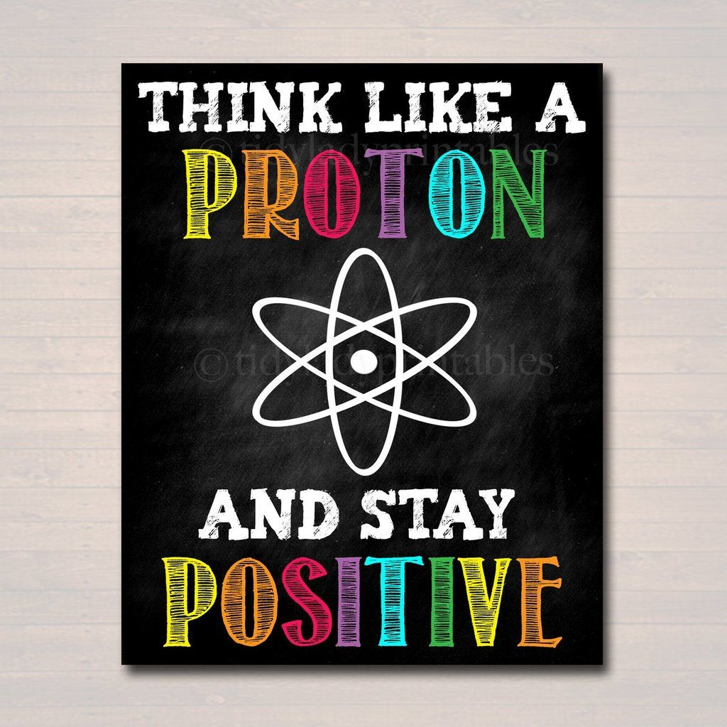 Science Classroom Printable Poster Art, Science Class Lab Quote Decor, Classroom Sign Think Like a Proton Stay Positive Science Teacher Gift #scienceclassroom