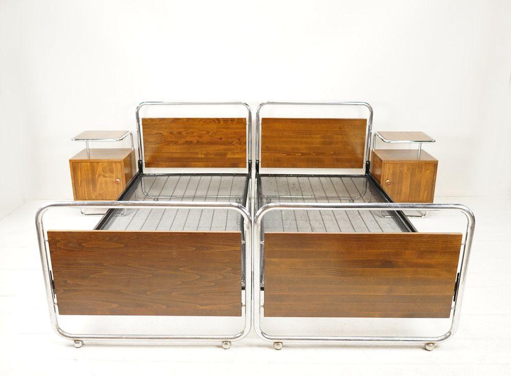Vintage Betten 2 Originale Bauhaus Betten 2 Nachttische Set Ein Designerstuck Von Ferdinand Christall Bei Dawanda Bauhaus Mobel Vintage Bett Bauhaus