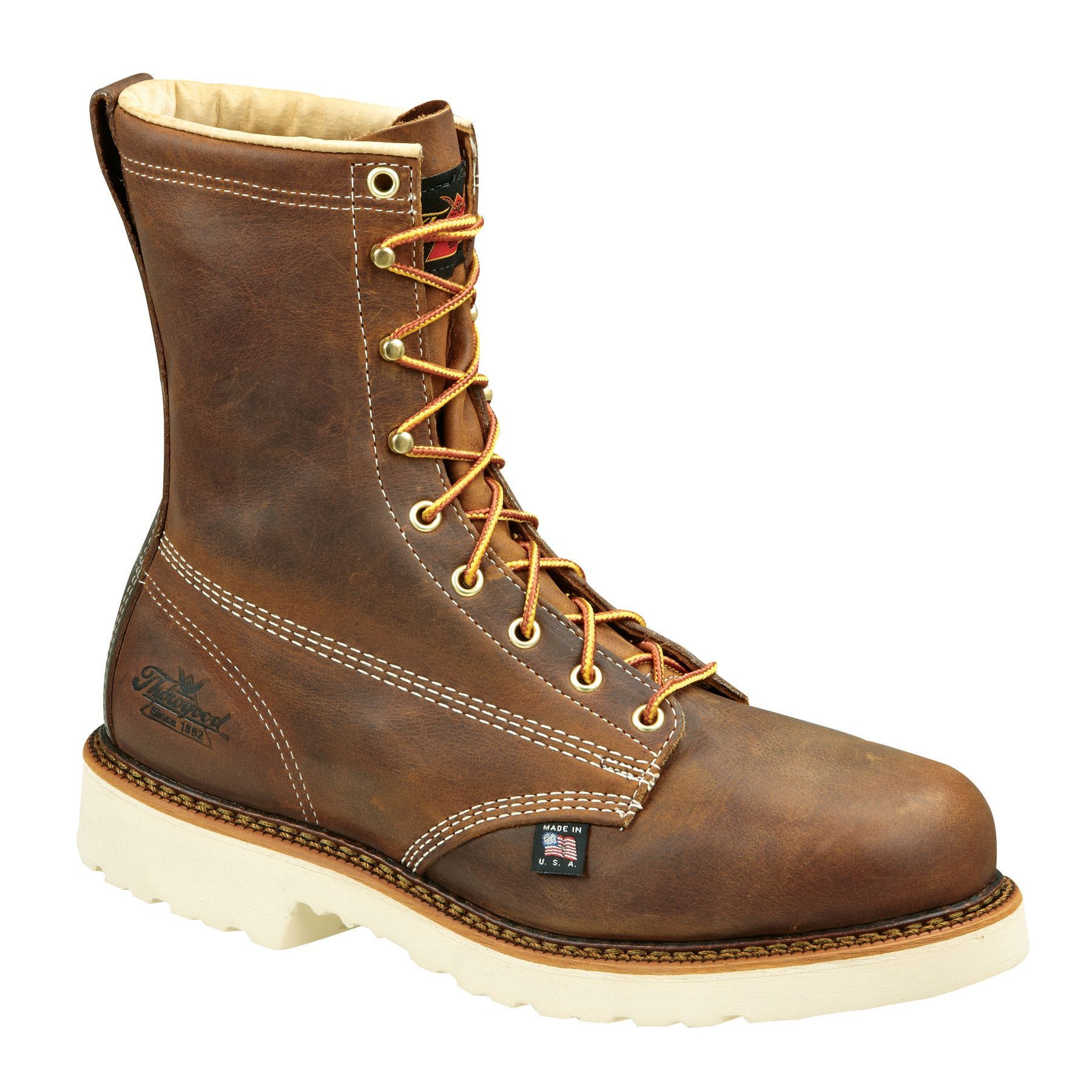eb334dddd42 Thorogood Mens Heritage Brown Leather Boots 8in Plain Safety Toe in ...