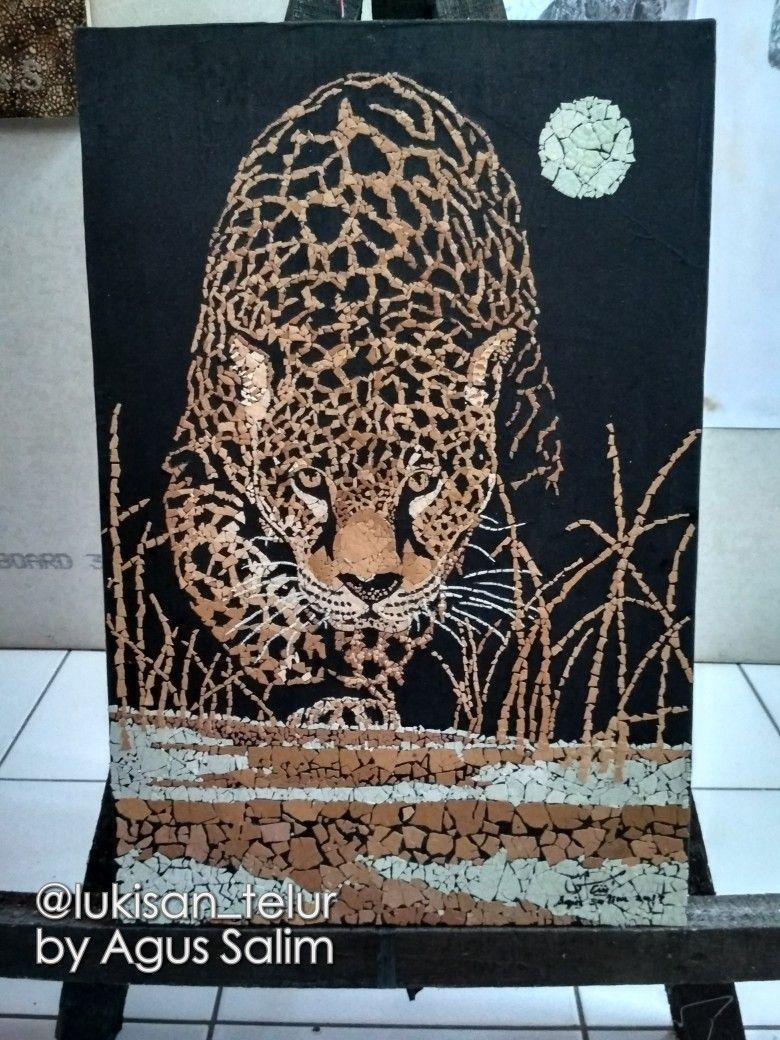 Lukisan Kulit Telur Leopard 2 Oleh Agus Salim Size 60x40 Cm