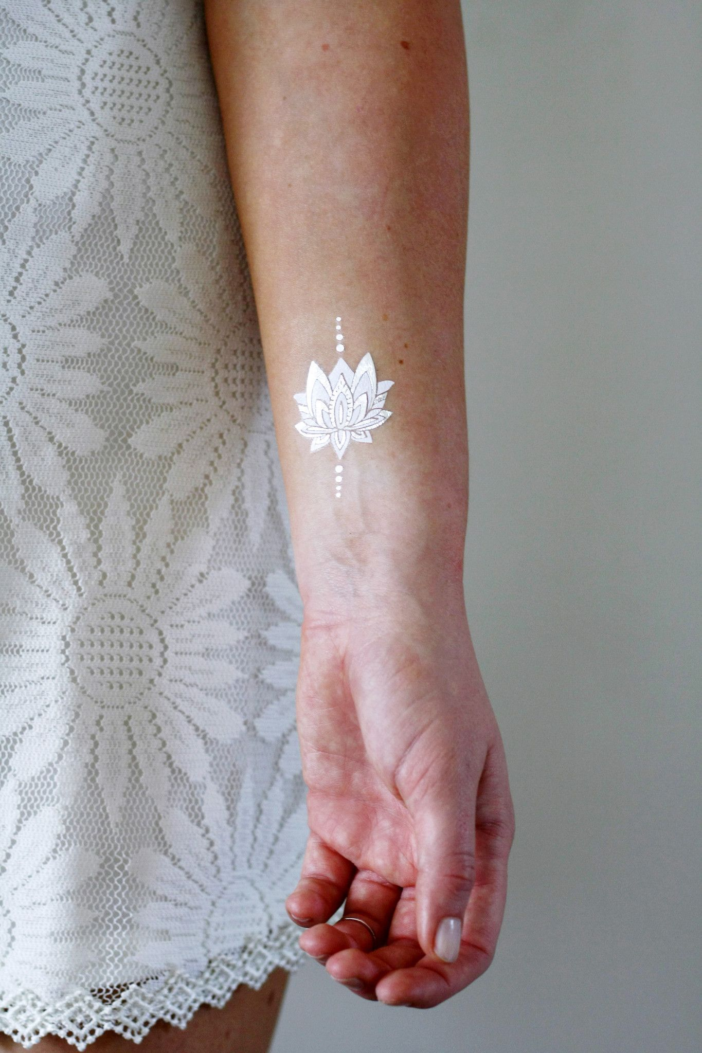 Silver And White Lotus Temporary Tattoos Tattoos By Tattoorary White Tattoo Bow Tattoo Designs Neck Tattoo