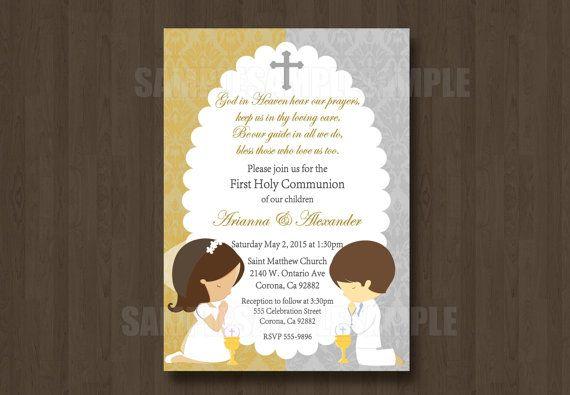 First Or Second Holy Communion Invitation Jpeg Digital File Twin Boy
