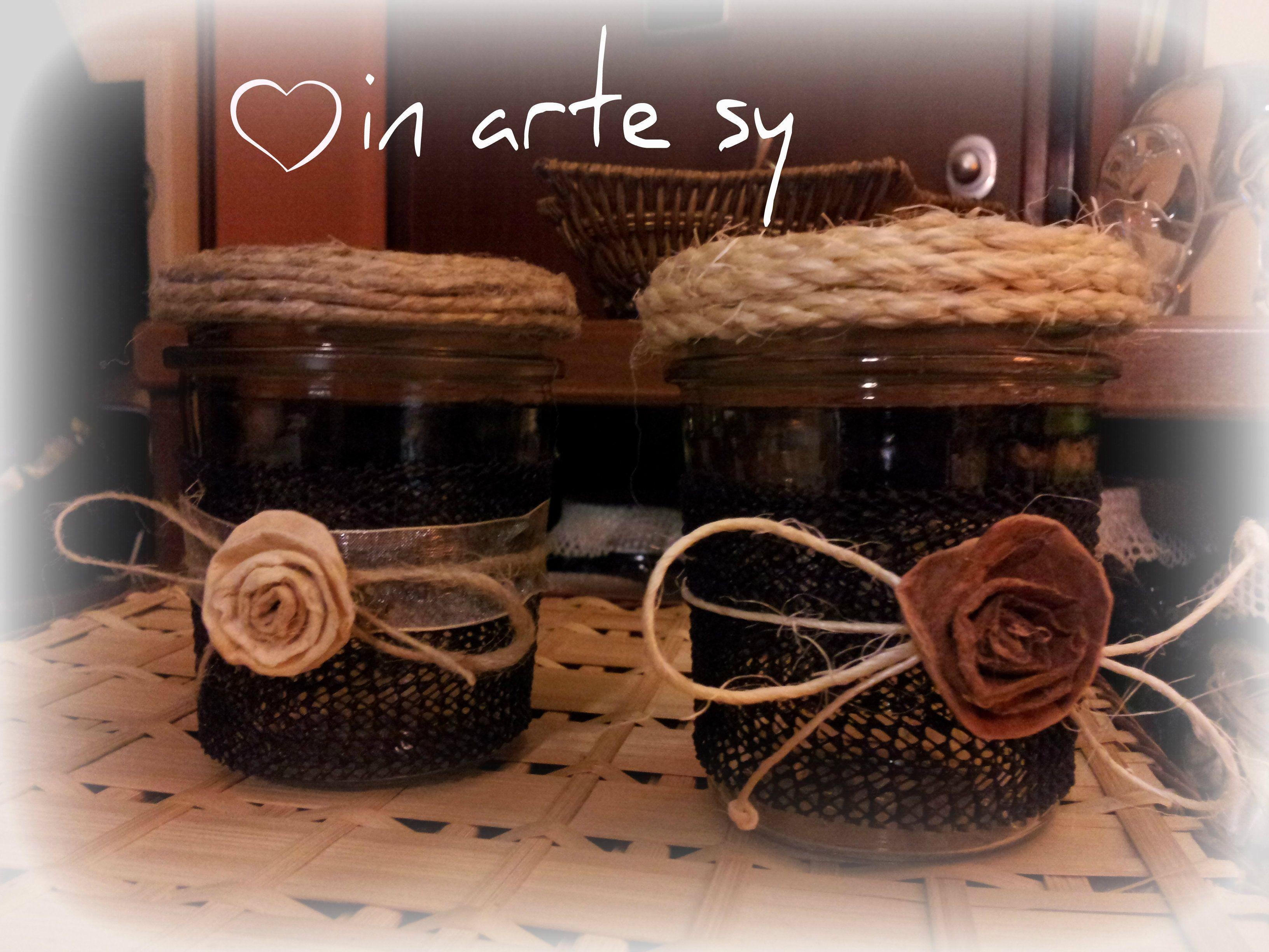 Barattoli porta tisane legumi o spezie decorati con spago e rose in finto feltro jars for teas - Porta tisane fai da te ...