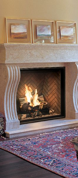 Fireplace Wall Flush Wall With Glass Tile And Metal: Town And Country Fireplace- Custom Herringbone Firebox