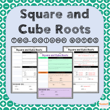 Square and Cube Roots TwoColumn Notes in 2020 Numerical