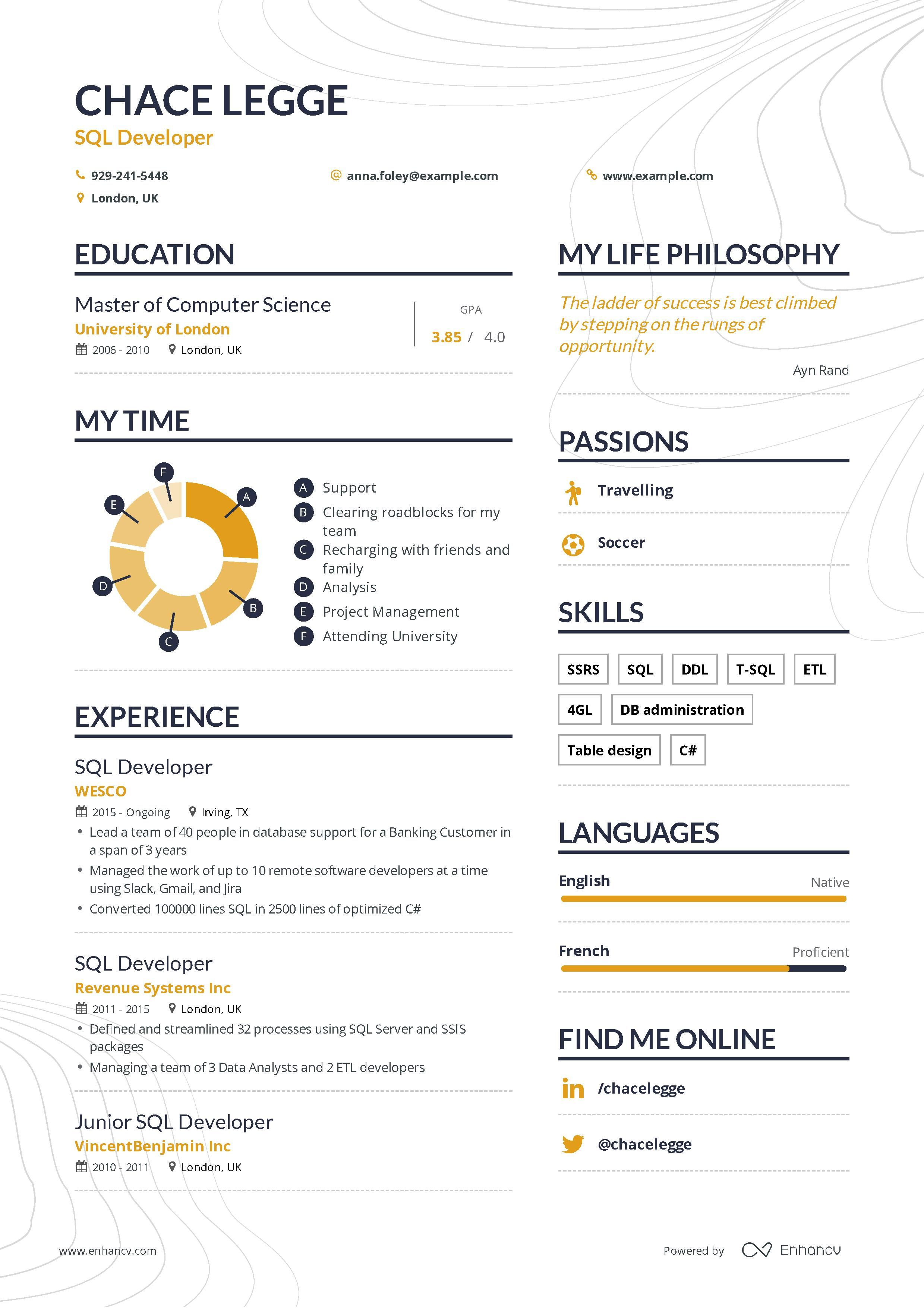 Sql Developer Resume Example And Guide For 2019 Resume Examples Resume Guide Sql