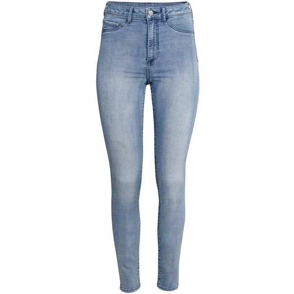 8e641161710e21 H&M Super Skinny High Jegging ($31) ❤ liked on Polyvore featuring pants,  leggings, jeans, bottoms, denim blue, high waisted jean leggings, high rise  ...