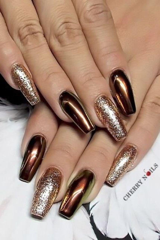 42 Attractive Metallic Nail Designs Ideas Brown Nails 42 Attractive Metallic Nail Designs Ideas Metallic Nails Design Metallic Nails Brown Nails Design