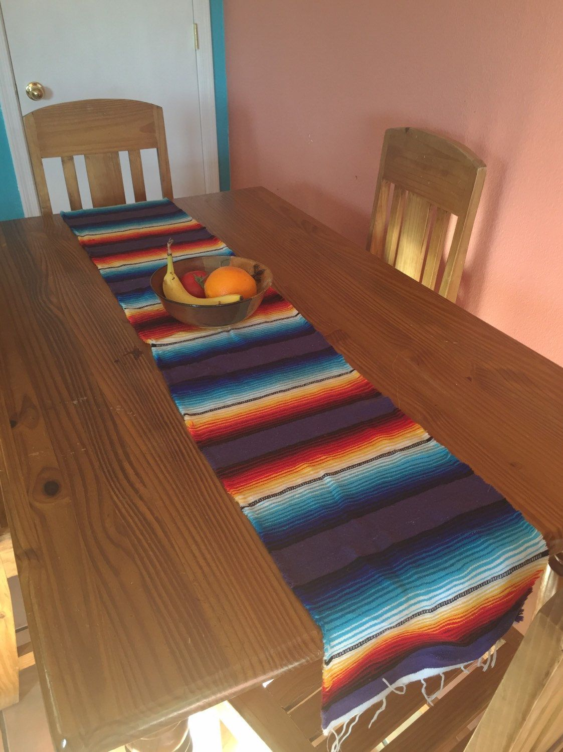 Sarape Saltillo Style Mexican Table Runner Striped By Hilybecoming On Etsy