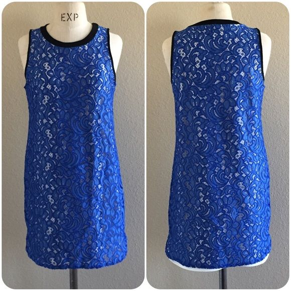 Cobalt shift laced drees black jewel neckline Shift silhouette, black neckline, cobalt blue flowers lace, rounded hemlines, sleeveless,  lined, pull over construction, NWT, Size MediumBuy 2 get 1 dress FREE Gianni Bini Dresses Midi