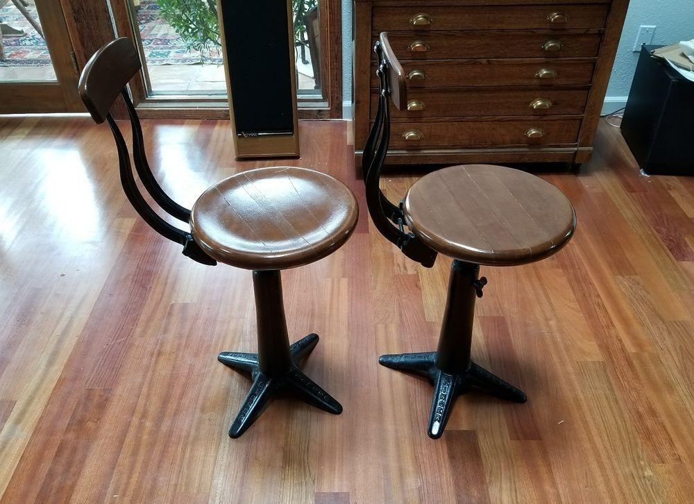 2 X Antique Singer Factory Sewing Chairs Caste Iron Base RARE ORIGINAL  1930'S A SET OF - 2 X Antique Singer Factory Sewing Chairs Caste Iron Base RARE