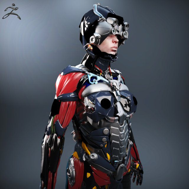 Sci-fi Female Character 3D Model .max .c4d .obj .3ds .fbx .lwo .stl @3DExport.com by CGregory @3