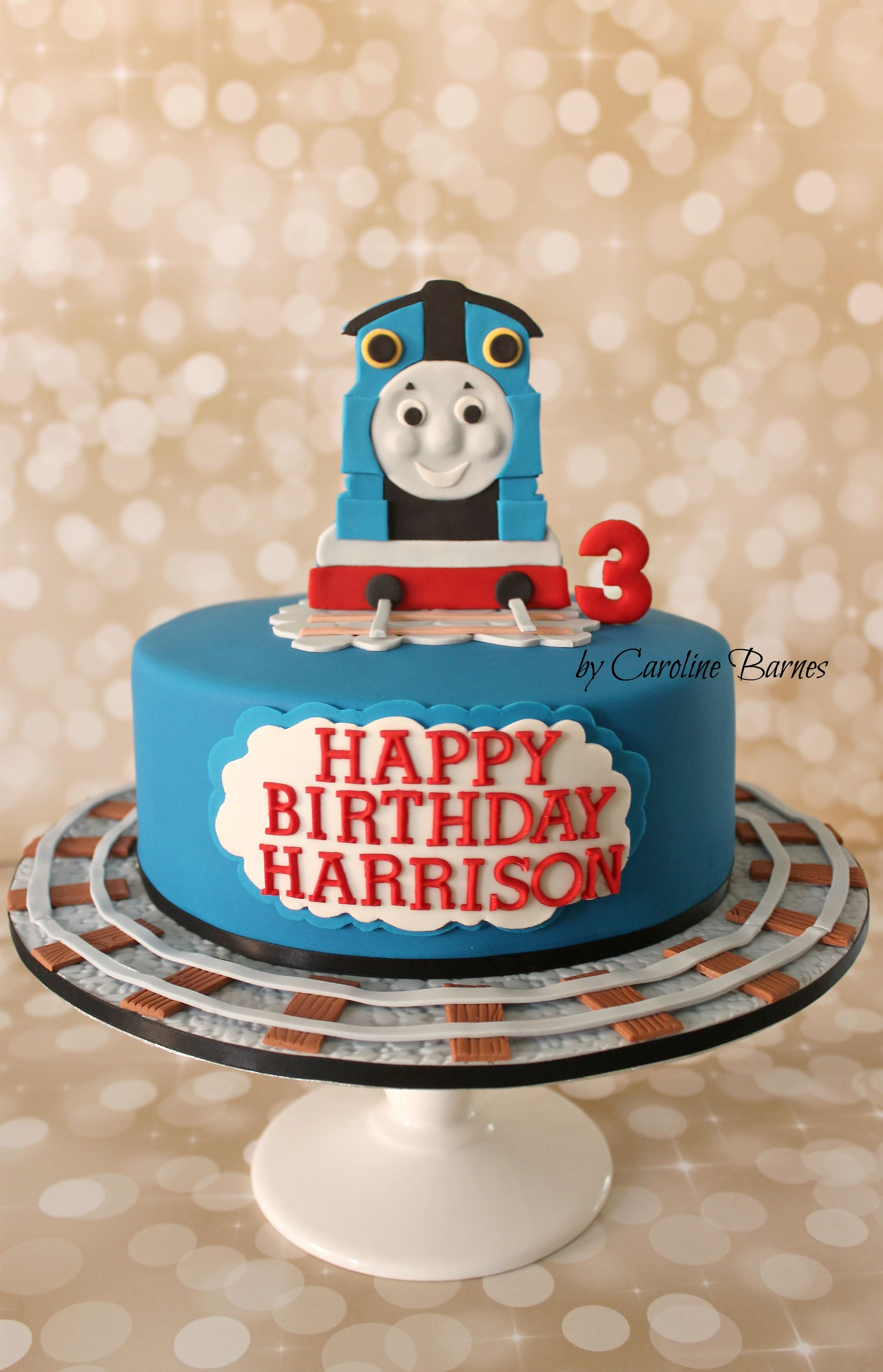 Thomas The Tank Engine Cake With Hand Cut D Topper Love Cake - Thomas birthday cake
