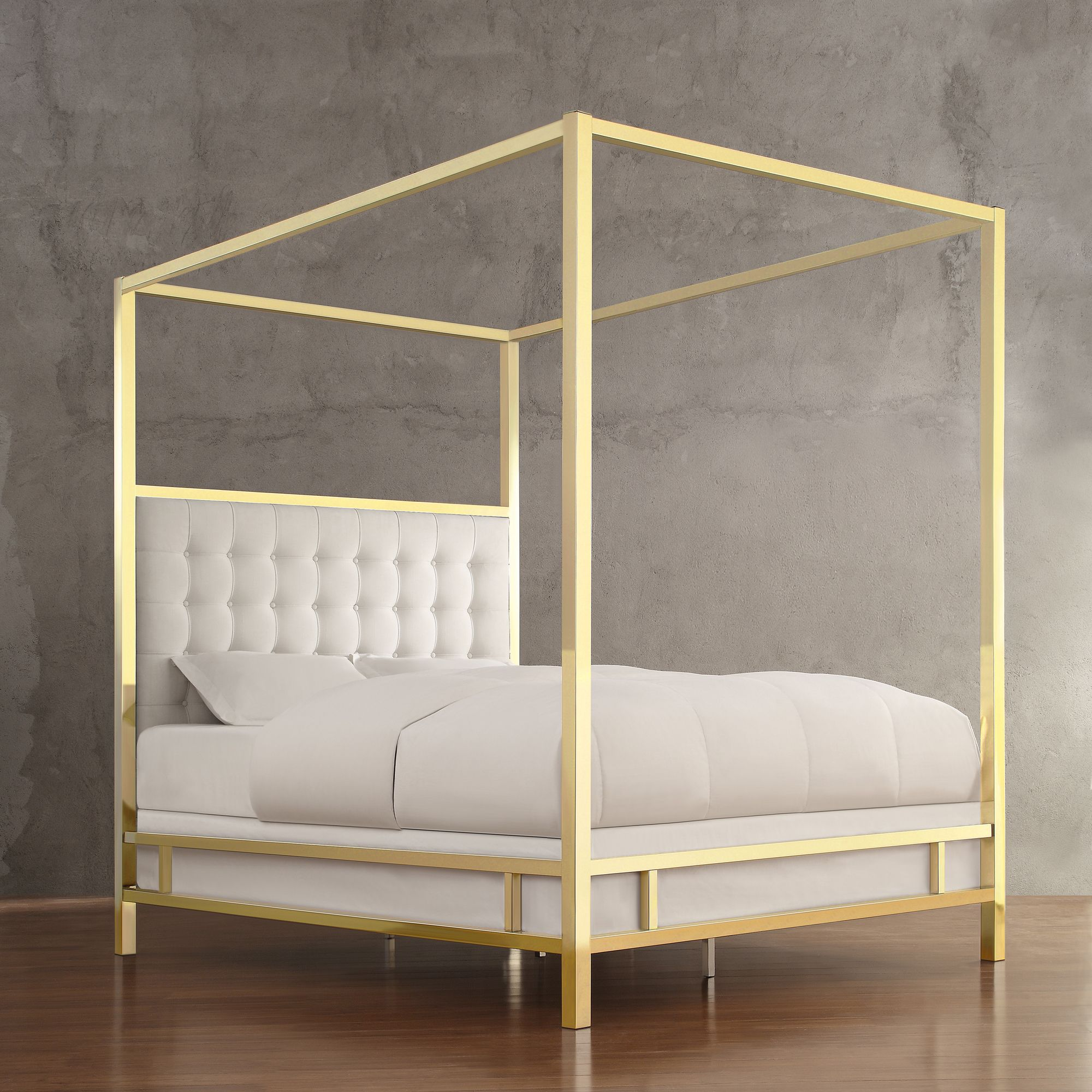 INSPIRE Q Solivita Off-white Linen Canopy Button Tufted Gold Metal ...