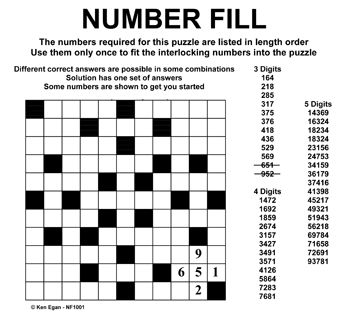Number Fill-it-in | puzzles | Pinterest