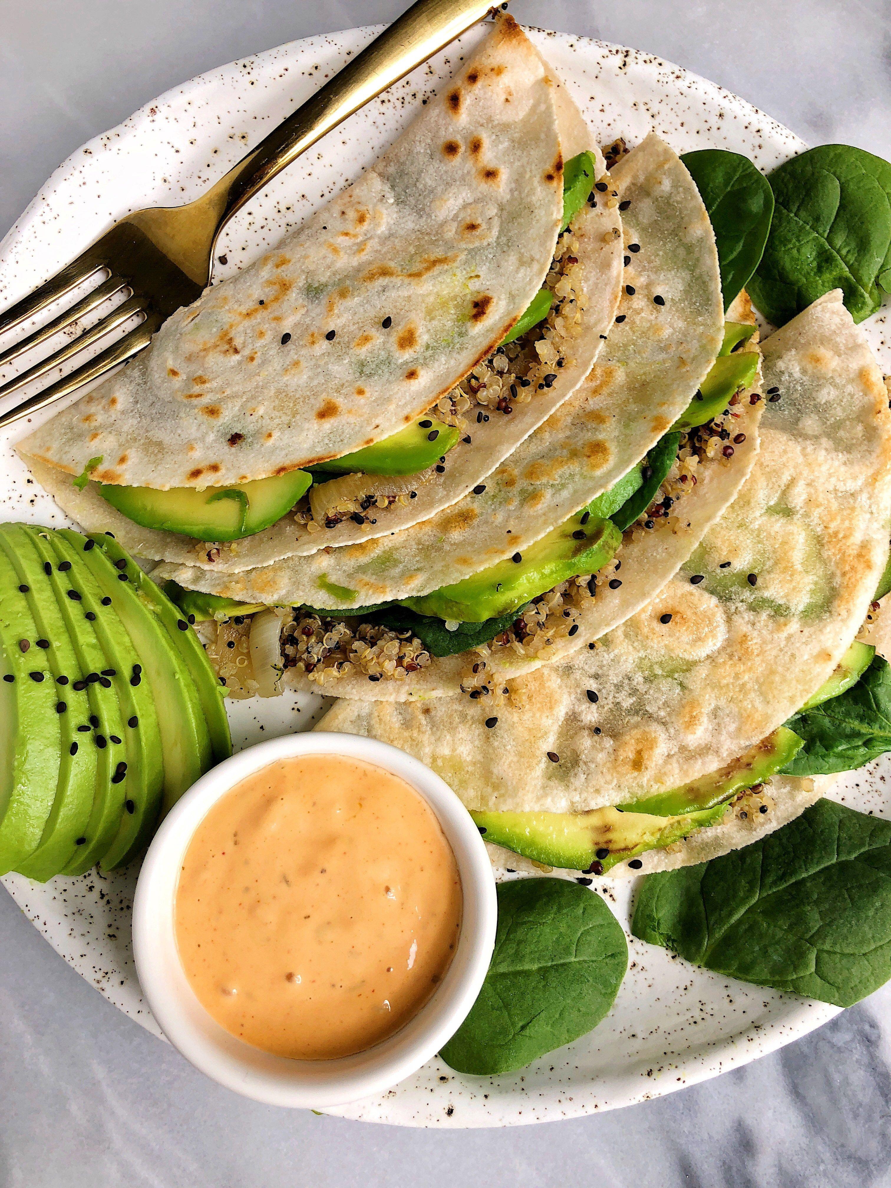 Crispy pan fried quinoa avocado tacos glutenfree