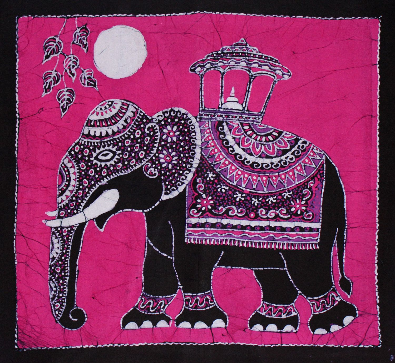 Batik+Wall+Hanging++Elephant+Tapestry+Batik+Art++by