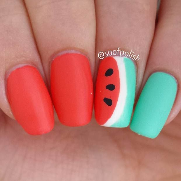 Bright, Matte Watermelon Nails - 21 Cute Watermelon Nail Ideas StayGlam Beauty Pinterest