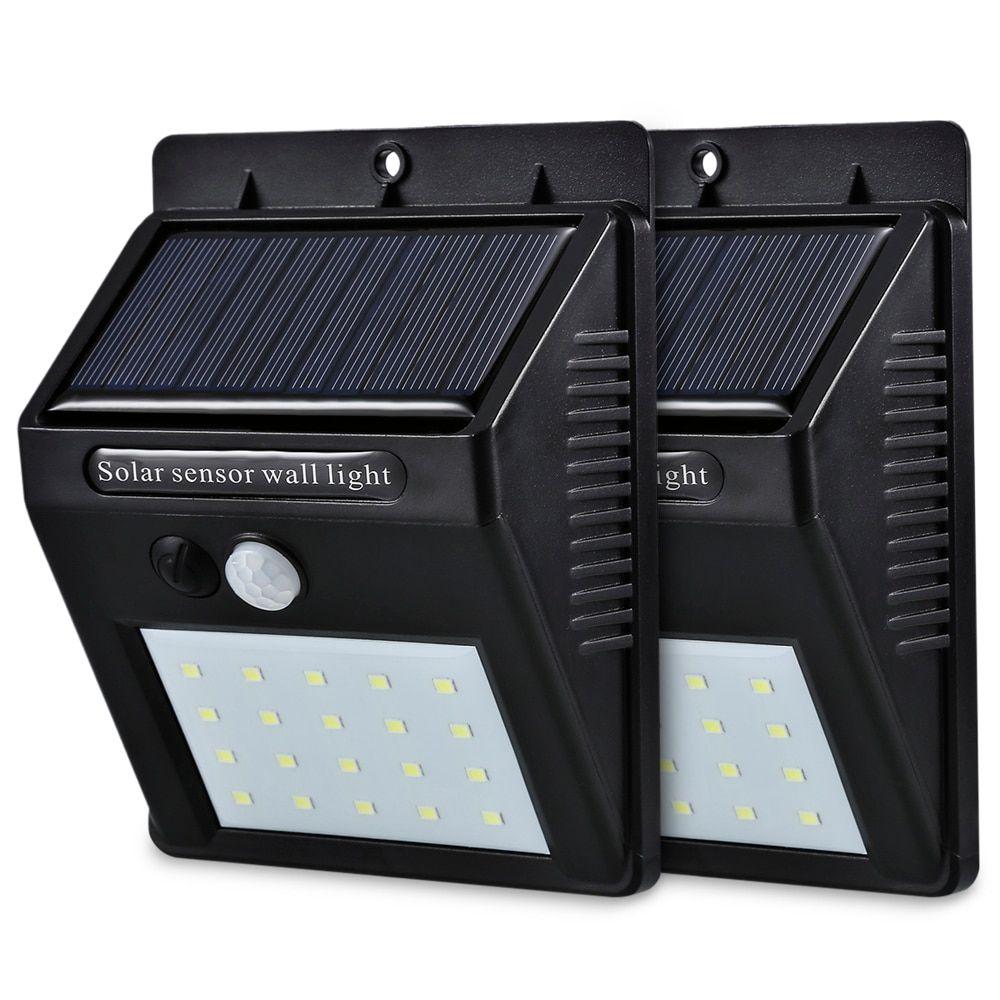 Led Solar Power Pir Motion Sensor Wall Light 20 Led Outdoor
