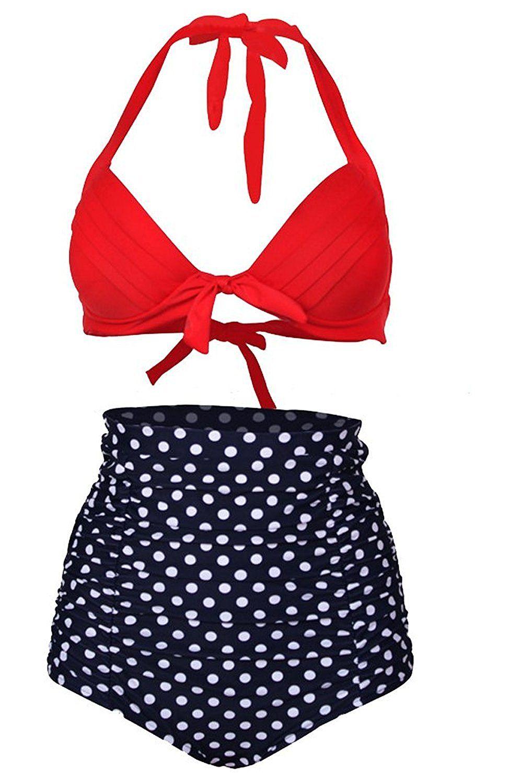 Shaperdiva Women's Push up Polka Vintage High Waist Bikini Swimsuits Swimwear ** Wow! I love this. Check it out now! : Plus size bikini