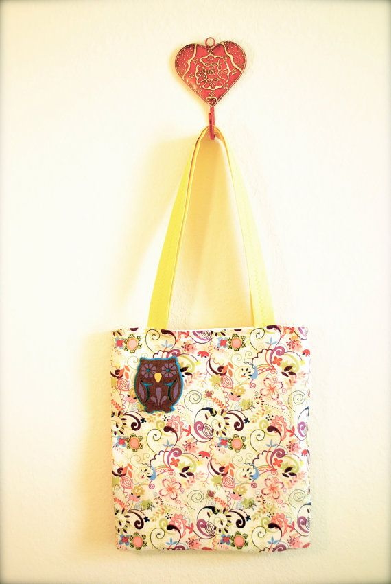 Colorful tote bag with owl applique by fubari on Etsy, $20.00
