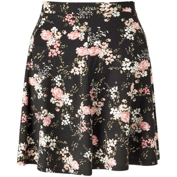 Miss Selfridge Black Floral Skater Skirt ($21) ❤ liked on Polyvore featuring skirts, miss selfridge, black, floral knee length skirt, long flared skirt, skater skirts, long circle skirt and long rayon skirt