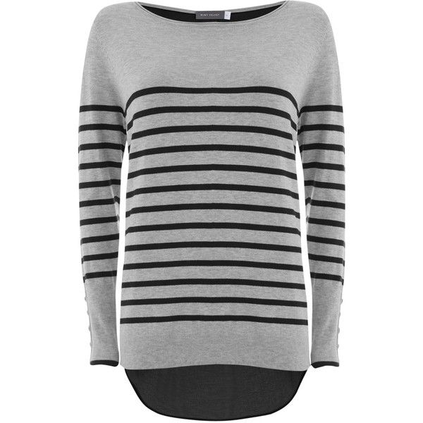 Mint Velvet Stripe Zip Jumper, Silver/Navy (£69) ❤ liked on Polyvore featuring tops, sweaters, navy sweater, long jumper, boatneck sweater, long sleeve jumper and silver sweater