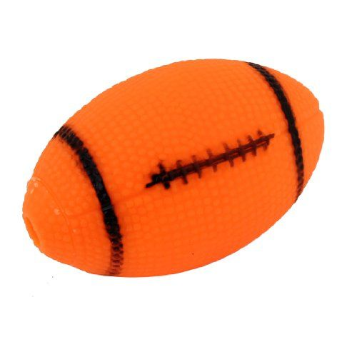 Pet Dog Football Designed Orange Black Vinyl Rubber Squeaky Toy