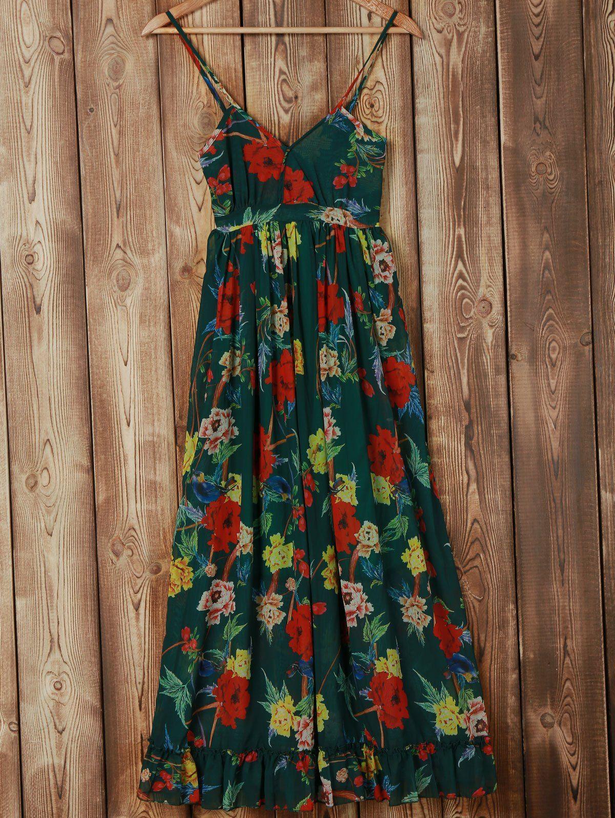4ce19611cf6e1 Bohemian Spaghetti Strap Floral Print Women's Chiffon Dress #Teal #Red  #Multicolor #Floral #Maxi_Dresses #Summer_Dresses