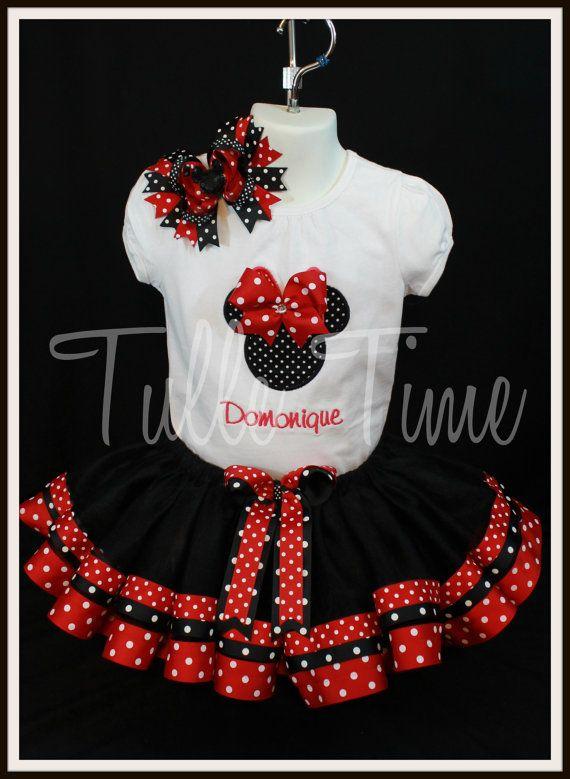 Ribbon trim Black red polka dot Minnie birthday by Tulletime