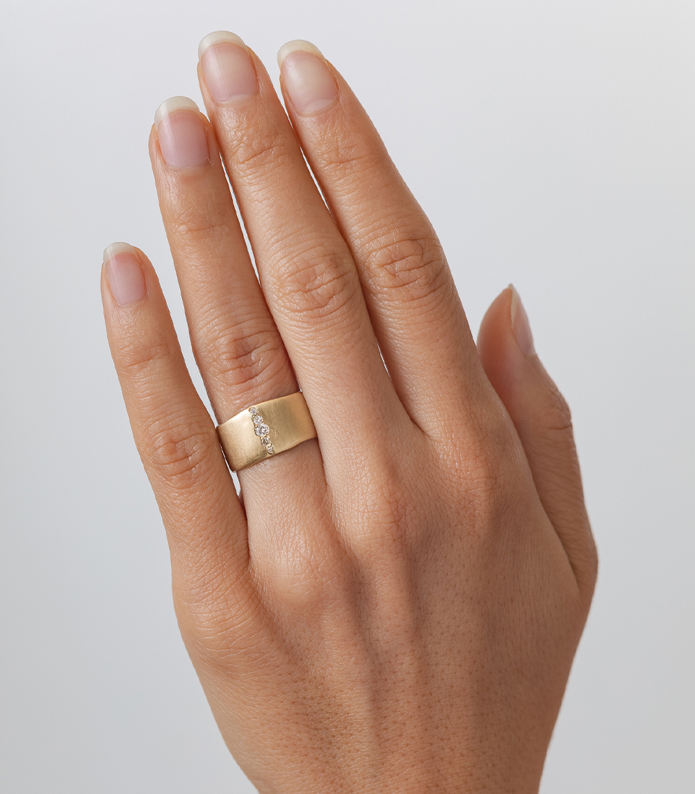 Diamond Stripe Torn Paper Band 10mm Gold Diamond Wedding Band Gold Rings Engagement Rings Sapphire