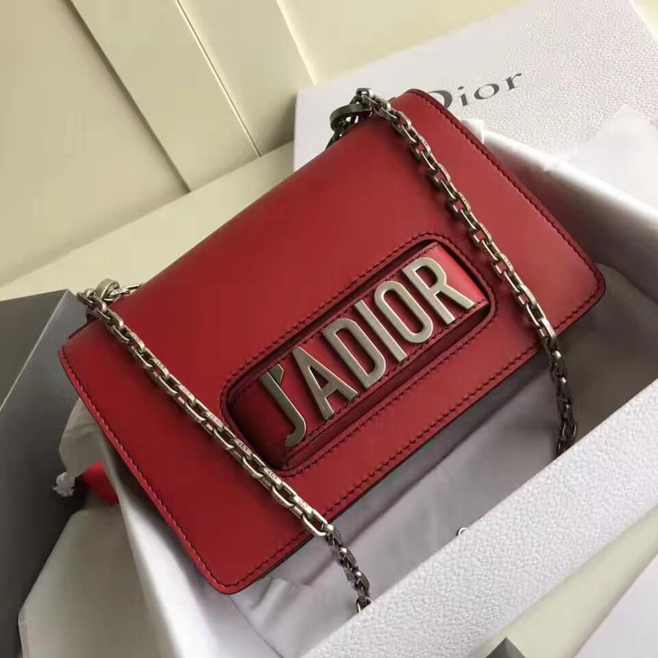 112d602d47b6 Dior J ADIOR Flap Bag With Chain In Red Calfskin 2017(Silver-tone Metal)