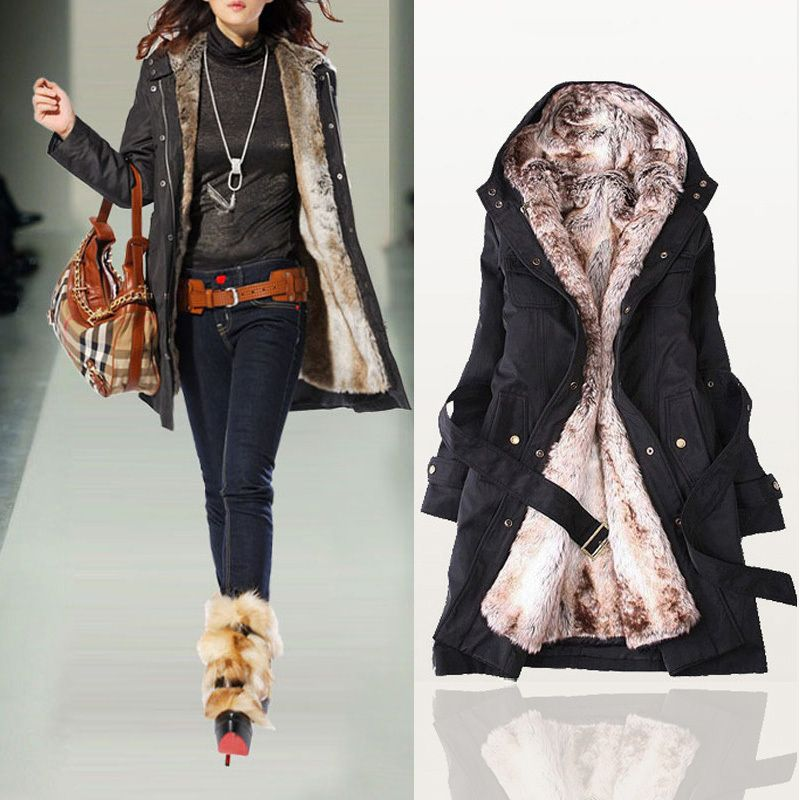 2013 Women Autumn Winter Fashion Faux Fur Lining Hoody Coat ...