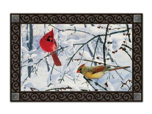 Magnet Works House Flag - Winter Morning Cardinals Decorative Flag at Garden Hou
