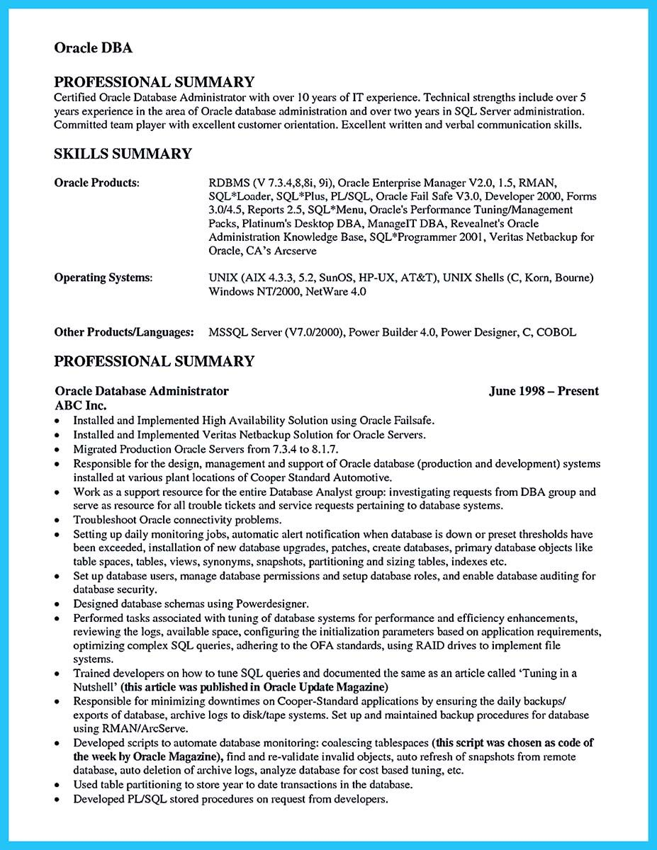 Captivating ... Database Administrator Resume To Get Noticed Easily, Check More At  Http://snefci.org/high Impact Database Administrator Resume  To Get Noticed Easily