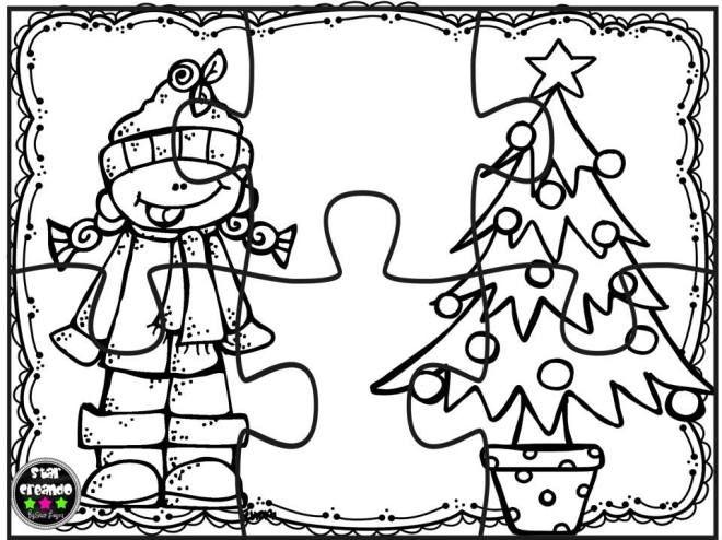 Puzzles de navidad para colorear imprimir, recortar plastificar y jugar